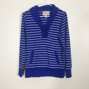 Banana Republic Blue and Grey Striped Sweater